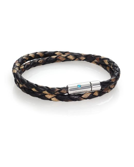 Tateossian - Brown Paraiba Topaz, Printed Leather & Sterling Silver Double-wrap Braided Bracelet for Men - Lyst