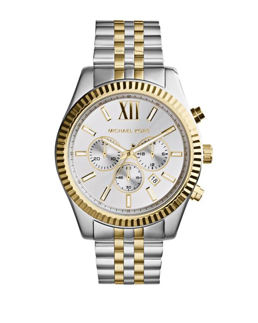 Michael Kors Metallic Lexington Two Tone Stainless Steel Men's Chrono Watch for men