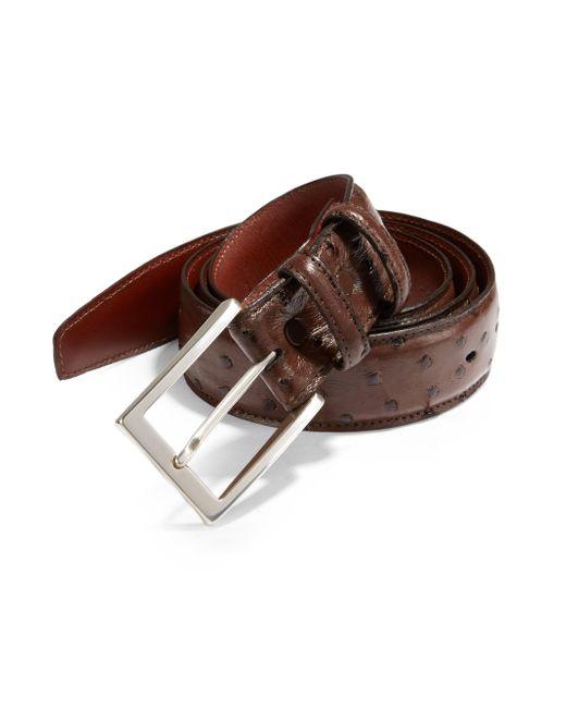 Saks Fifth Avenue - Brown Ostrich Leather Belt for Men - Lyst