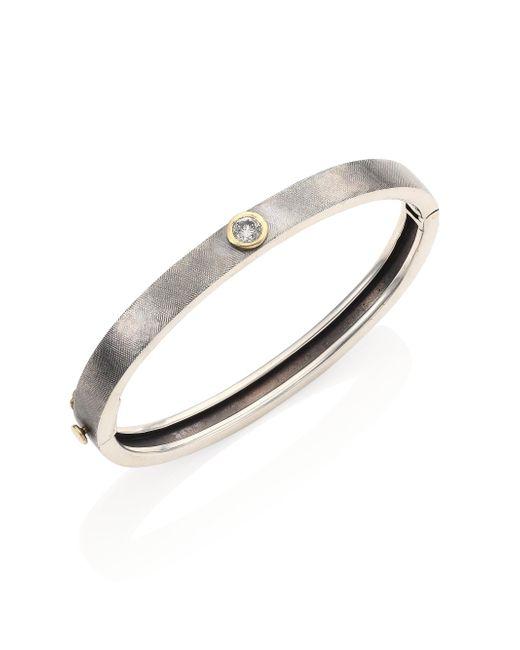 Rene Escobar - Red Single Diamond & Sterling Silver Bangle Bracelet - Lyst