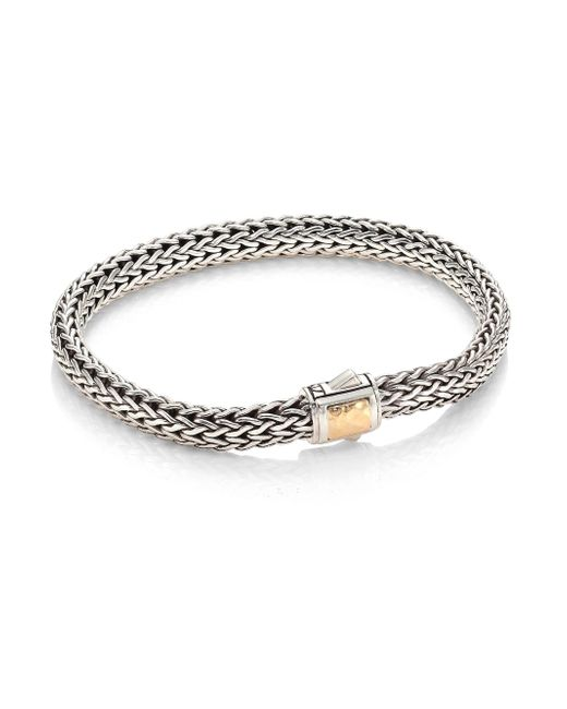 John Hardy - Metallic Classic Chain Small Hammered 14k Bonded Yellow Gold Station Sterling Silver Bracelet - Lyst