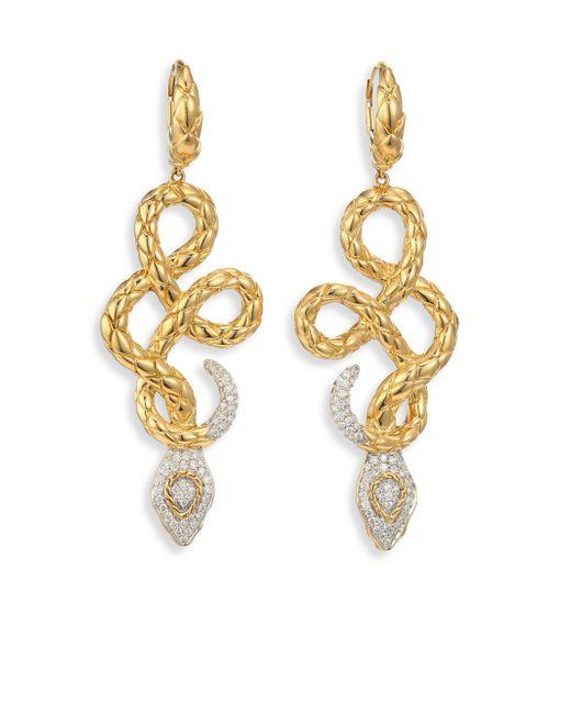 John Hardy   Metallic Legends Cobra Diamond & 18k Yellow Gold Drop Earrings   Lyst