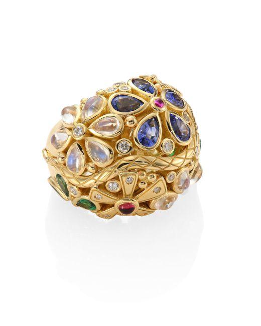 Temple St. Clair - Metallic Flower Serpent Diamond & Semi-precious Multi-stone Ring - Lyst