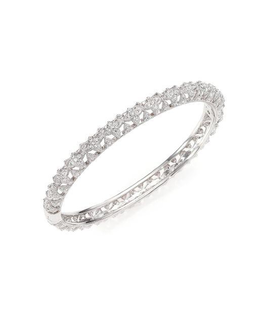 Adriana Orsini - Metallic Pavé Crystal Floral Bangle Bracelet - Lyst
