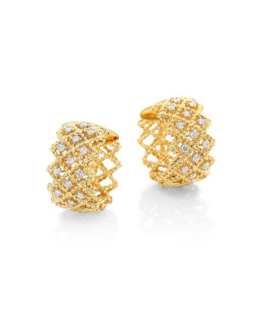 Roberto Coin | Metallic New Barocco Diamond & 18k Yellow Gold Hoop Earrings/ | Lyst