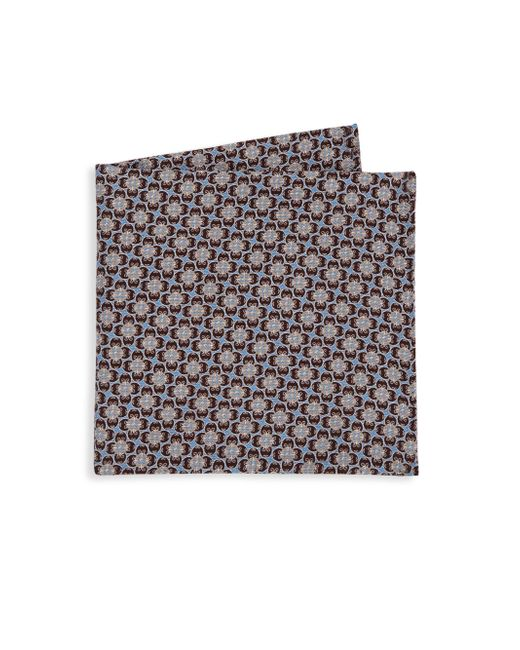 Saks Fifth Avenue - Brown Collection Printed Silk Pocket Square for Men - Lyst