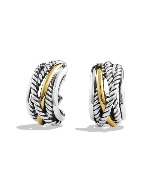 David Yurman | Metallic Crossover Earrings With Gold | Lyst