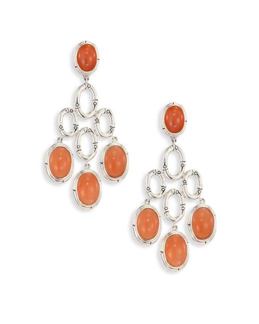 John Hardy - Metallic Bamboo Peach Moonstone & Sterling Silver Chandelier Earrings - Lyst