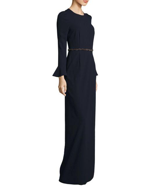 David Meister | Blue Front Slit Floor-length Gown | Lyst