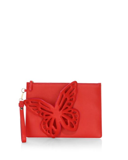 Sophia Webster - Red Flossy Leather Butterfly Pouchette - Lyst
