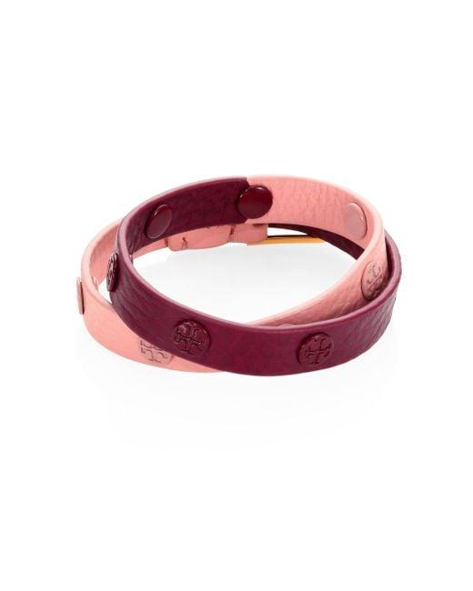 Tory Burch - Pink Double-wrap Logo Stud Colorblock Bracelet - Lyst