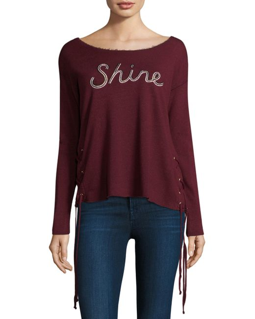 Sundry - Purple Shine Lace-up Pullover - Lyst