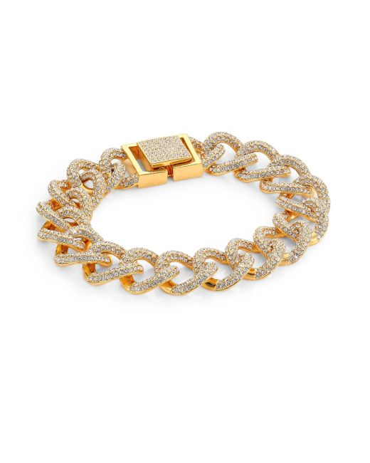 Adriana Orsini   Metallic Crystal Pave Curb Link Bracelet/goldtone   Lyst