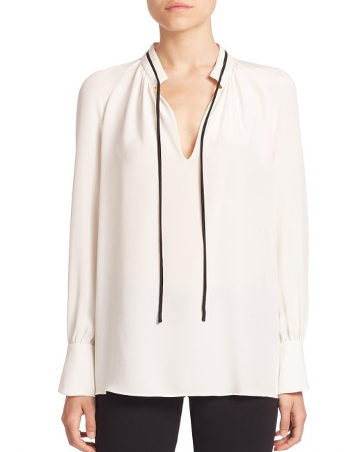 Derek Lam | Black Long-sleeve Tie-neck Silk Blouse | Lyst