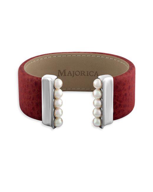 Majorica - Red New Isla 5mm Organic Pearl & Leather Open Bangle - Lyst