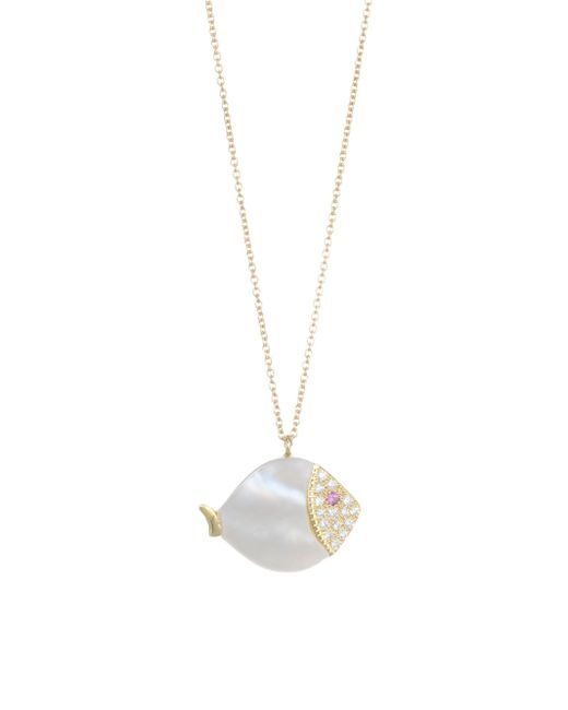 Nayla Arida - Metallic 18k Yellow Gold Carved White Mother-of-pearl, White Diamonds, Pink Sapphire Large Fish Necklace - Lyst