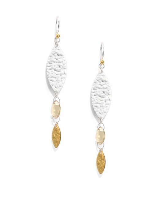 Gurhan | Metallic Willow Champagne Quartz, 24k Yellow Gold & Sterling Silver Bloom Drop Earrings | Lyst