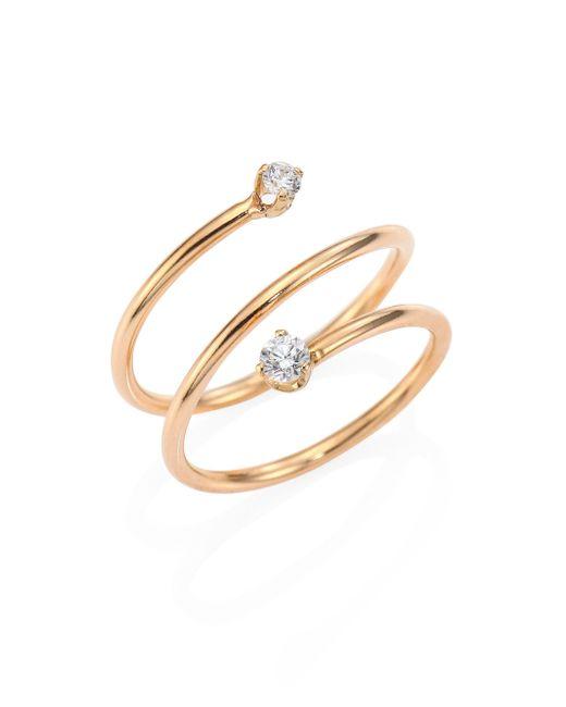 Zoe Chicco   Metallic Diamond & 14k Yellow Gold Spiral Ring   Lyst