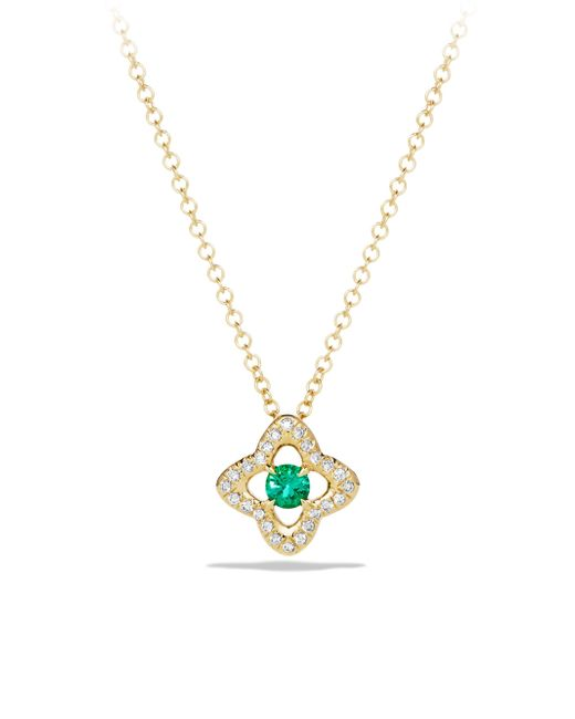 David Yurman - Green Venetian Quatrefoil Necklace With Emerald And Diamonds In 18k Gold - Lyst