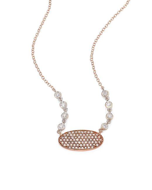 Meira T | Metallic Oblong Disc Diamond, 14k Rose & White Gold Necklace | Lyst