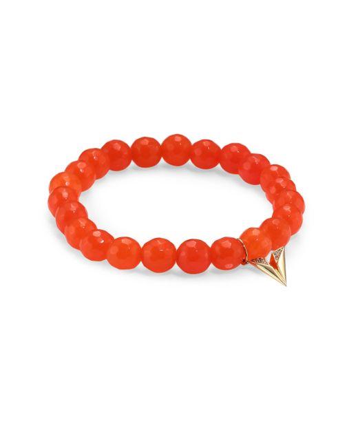 Sydney Evan | Multicolor Paper Airplane Diamond & Orange Agate Beaded Bracelet | Lyst