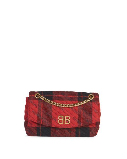 Balenciaga - Red Bb Logo Plaid Crossbody Bag - Lyst