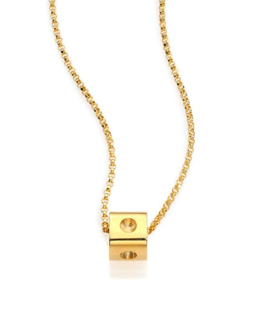 Roberto Coin | Metallic Pois Moi 18k Yellow Gold Mini Cube Pendant Necklace | Lyst