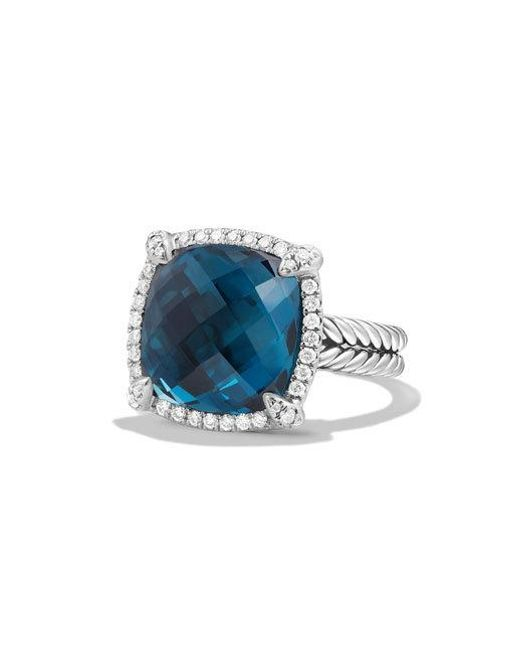 David Yurman | Châtelaine Pavé Bezel Ring With Hampton Blue Topaz And Diamonds | Lyst