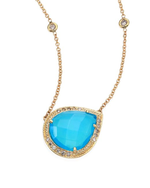 Jacquie Aiche | Metallic Partial Pave Diamond, Blue Opal & 14k Yellow Gold Teardrop Necklace | Lyst