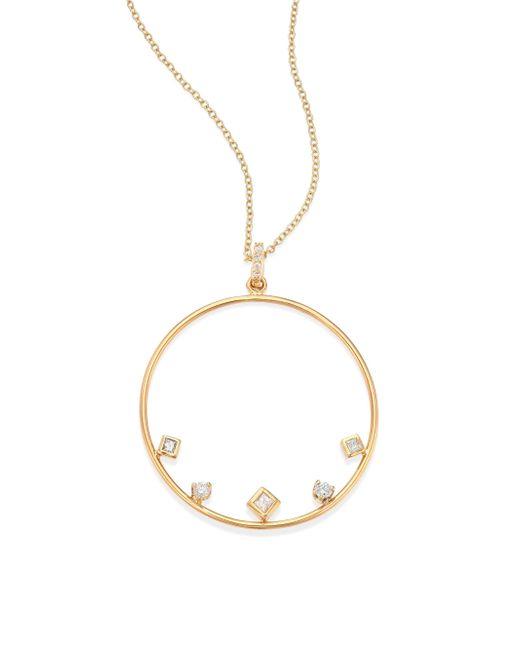 Zoe Chicco - Metallic Mixed Diamond & 14k Yellow Gold Circle Necklace - Lyst