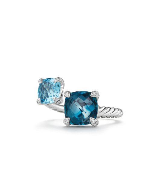 David Yurman - Chatelaine? Bybass Ring With Hampton Blue Topaz, Blue Topaz And Diamonds - Lyst