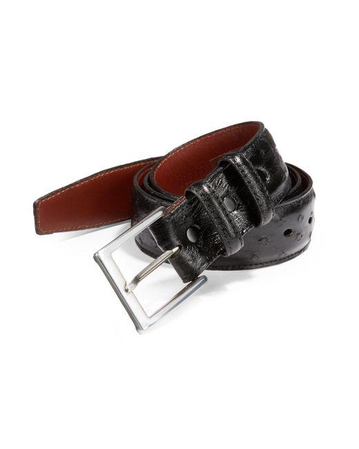 Saks Fifth Avenue - Black Ostrich Leather Belt for Men - Lyst