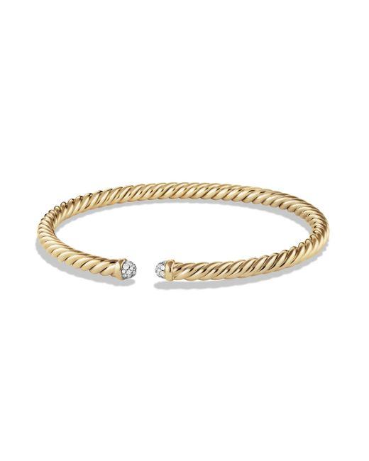 David Yurman - Metallic Precious Cable Bracelet With Diamonds In Gold - Lyst