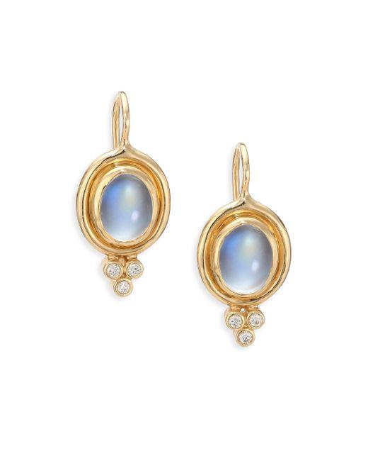 Temple St. Clair | Metallic Royal Blue Moonstone, Diamond & 18k Yellow Gold Drop Earrings | Lyst