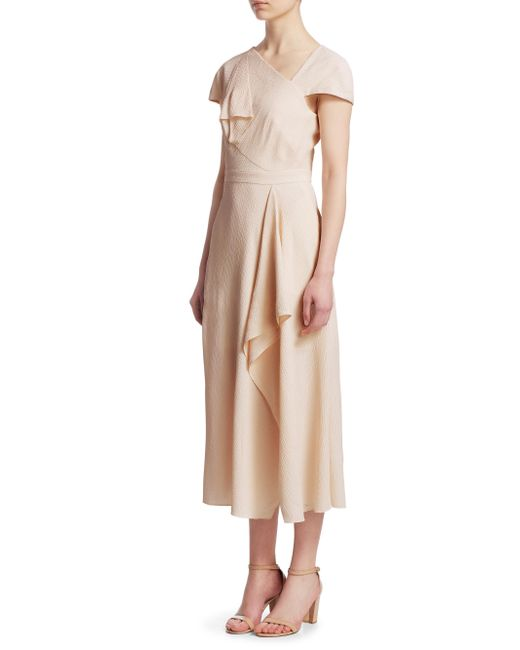Roland Mouret - Pink Ruffle Textured A-line Dress - Lyst