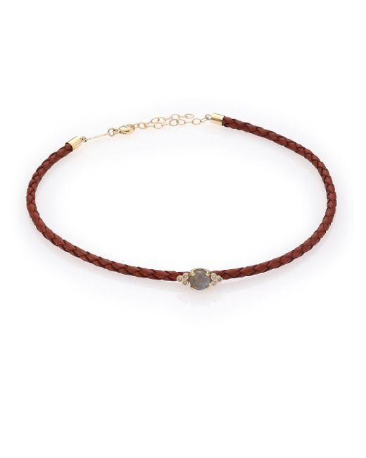 Jacquie Aiche - Brown Diamond, Labradorite, 14k Yellow Gold & Leather Choker Necklace - Lyst