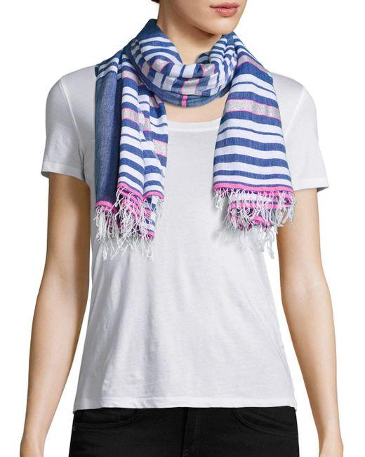 Lemlem | Blue Mini Striped Scarf | Lyst