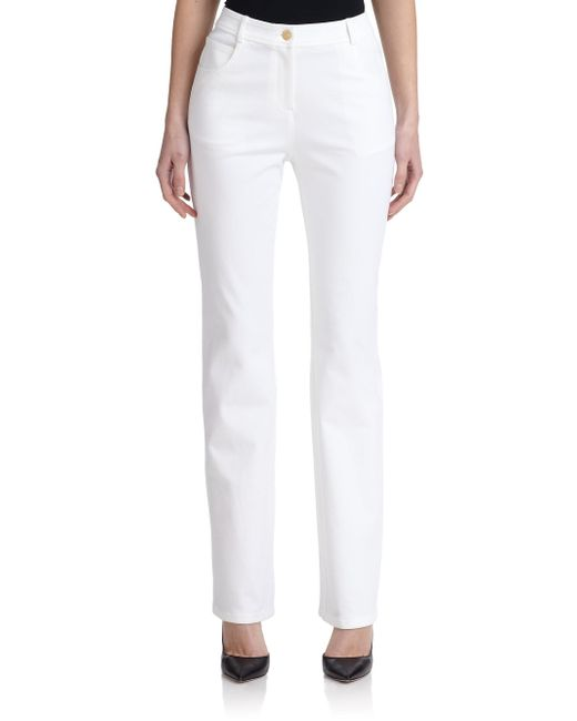 St. John | White Caviar Collection Marie Twill Pants | Lyst