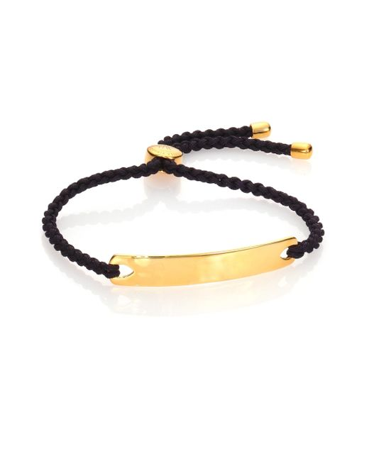 Monica Vinader - Metallic Havana Hammered 18k Yellow Gold Vermeil Friendship Bracelet/black - Lyst