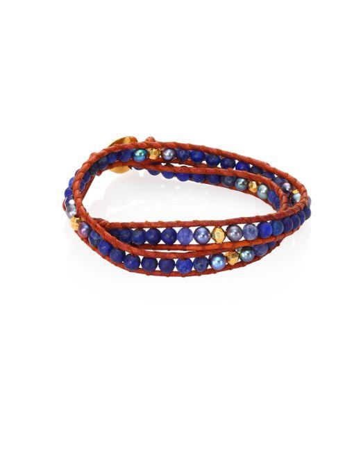 Chan Luu - Blue Opal & Mother Of Pearl Wrap Bracelet - Lyst