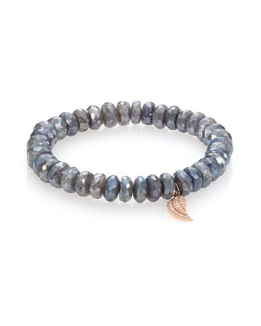 Sydney Evan   Blue Diamond, Labradorite & 14k Rose Gold Wing Beaded Stretch Bracelet   Lyst