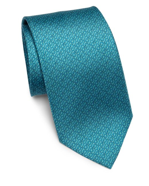 Ferragamo   Blue Gancini Patterned Silk Tie for Men   Lyst