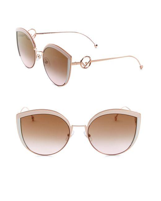 Fendi - Pink 58mm Metal Cat Eye Sunglasses - Lyst