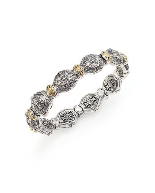 Konstantino - Metallic Thalassa 18k Yellow Gold & Sterling Silver Etched Link Bangle Bracelet - Lyst