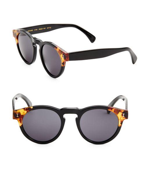 Illesteva - Black Leonard Split Back 48mm Round Sunglasses - Lyst