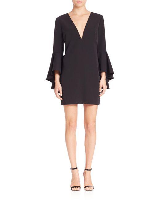 MILLY   Black Italian Cady Nicole Bell Sleeve Dress   Lyst