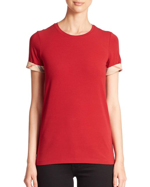 Burberry - Red Check-cuffed Tee - Lyst