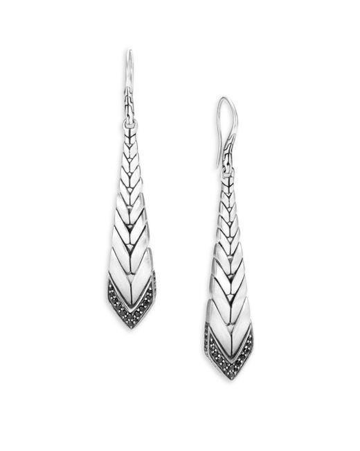John Hardy - Metallic Modern Chain Black Sapphire & Spinel Long Drop Earrings - Lyst