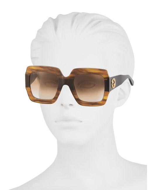 0a0cef6505 ... Gucci - Multicolor 54mm Square Sunglasses - Shny Multlay Gloss Rose brn  - Lyst