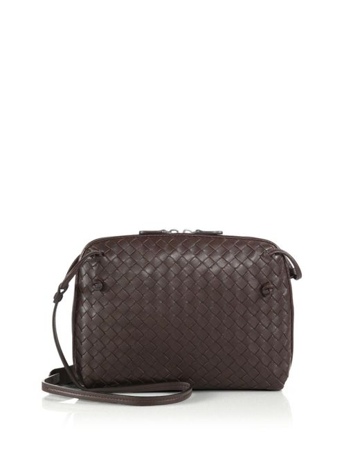 Bottega Veneta - Brown Small Pillow Intrecciato Leather Crossbody Bag - Lyst